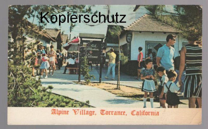 ÄLTERE POSTKARTE ALPINE VILLAGE TORRANCE CALIFORNIA cpa postcard AK Ansichtskarte