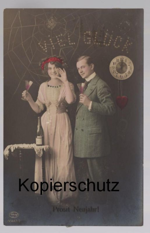 ALTE POSTKARTE PROSIT NEUJAHR VIEL GLÜCK Neujahr Uhr Sekt Spinnennetz Ehepaar Paar couple postcard cpa AK Ansichtskarte