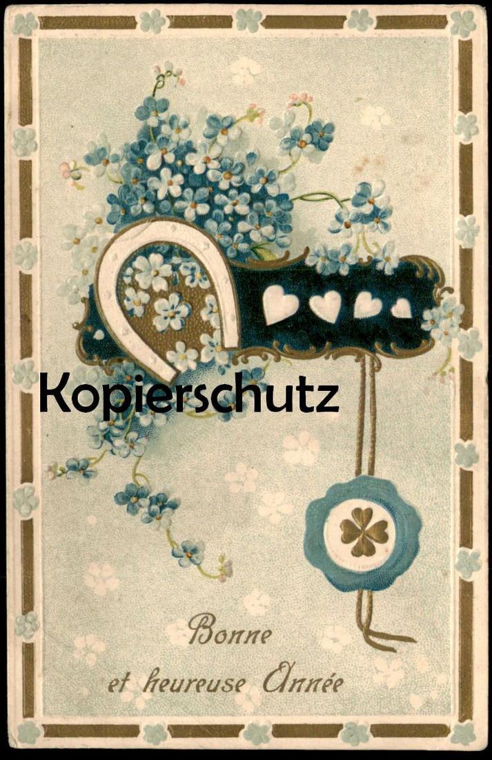 ALTE PRÄGE-POSTKARTE BONNE ET HEUREUSE ANNÉE Neujahr embossed cpa gauffrée Herz heart postcard AK Ansichtskarte