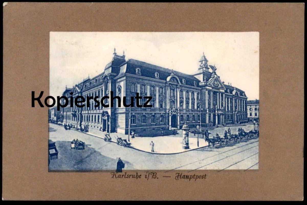 ALTE PASSEPARTOUT POSTKARTE KARLSRUHE I. B. HAUPTPOST Post cpa AK postcard Ansichtskarte