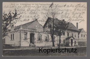ALTE POSTKARTE GRUSS VOM SCHÜTZENHAUS MIT CAFÉ HERTWIG-RUSSDORF Limbach-Oberfrohna Ansichtskarte postcard cpa