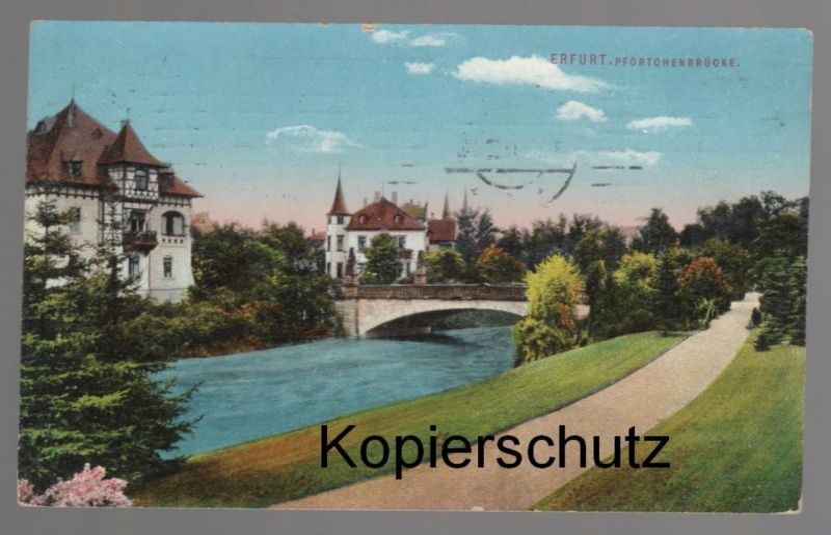 ALTE POSTKARTE ERFURT PFÖRTCHENBRÜCKE Brücke bridge pont Ansichtskarte postcard AK cpa