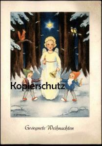 ALTE KÜNSTLER-POSTKARTE GESEGNETE WEIHNACHTEN Zwerge dwarfs squirrel nains Sign. G. LAMBERTZ angel Engel cpa AK postcard