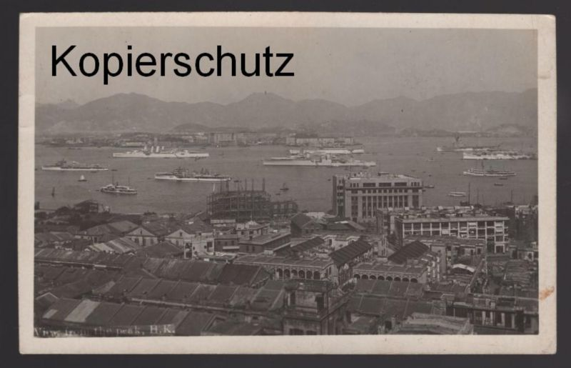ALTE POSTKARTE HONGKONG VIEW FROM THE PEAK Hong Kong China Chine war ships? cpa AK Ansichtskarte postcard
