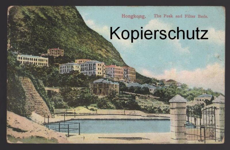 ALTE POSTKARTE HONGKONG THE PEAK AND FILTER BEDS Hong Kong China Chine cpa AK Ansichtskarte postcard