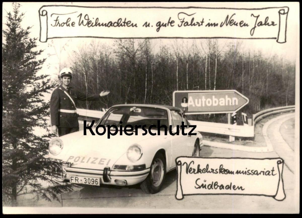 ÄLTERE KARTE VERKEHRSKOMMISSARIAT SÜDBADEN Autobahn Porsche 911 Polizei police uniform Autogramm cpa AK Ansichtskarte