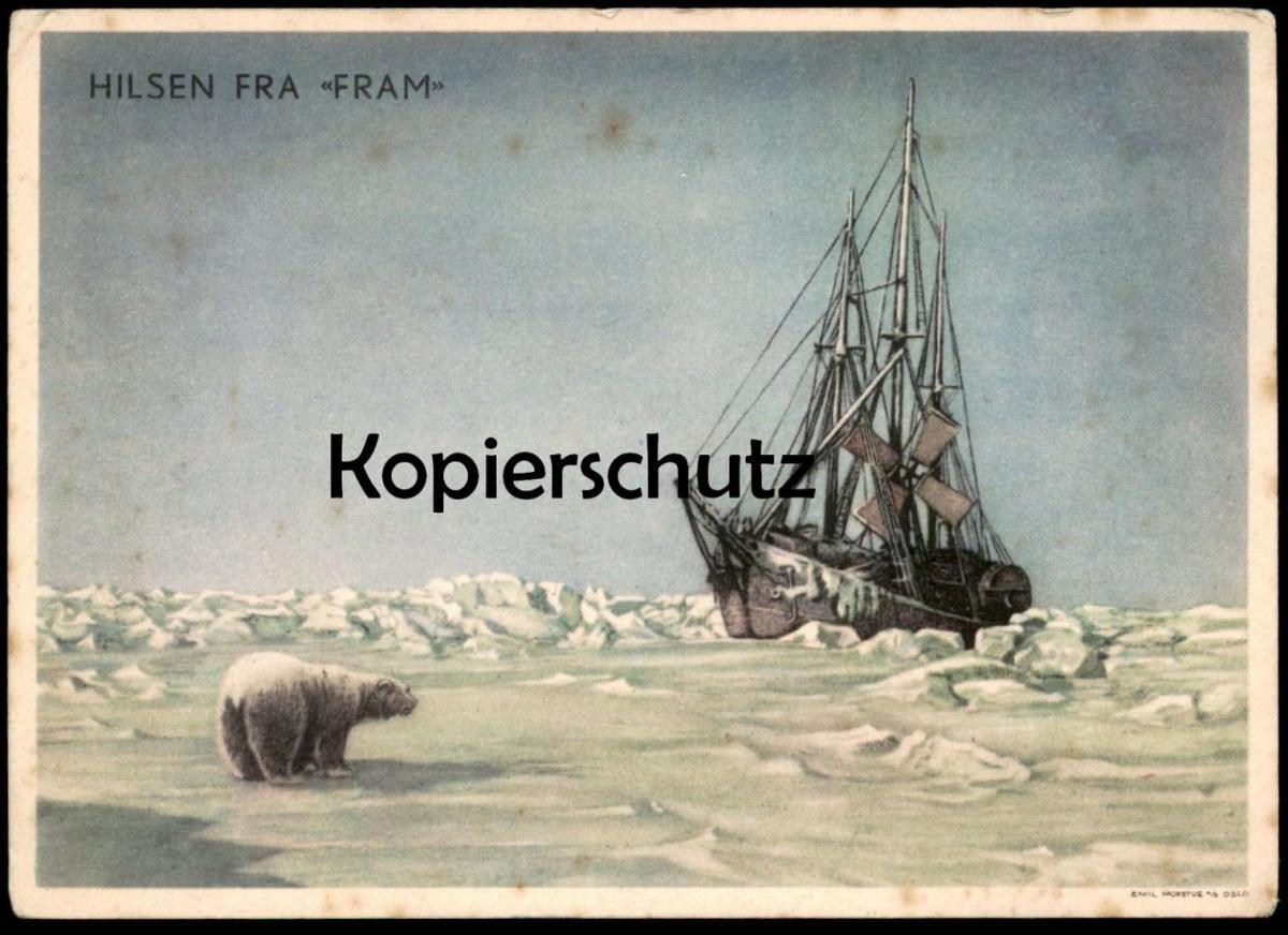 ALTE POSTKARTE HILSEN FRA FRAM Expedition Fridtjof Nansen Entdecker Polarforscher Schiff cpa postcard AK Ansichtskarte