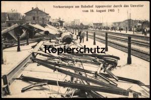 ALTE POSTKARTE VERHEERUNGEN AM BAHNHOF APPENWEIER DURCH DAS UNWETTER VOM 10. AUGUST 1905 station gare disaster Dampflock