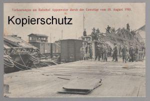 ALTE POSTKARTE VERHEERUNGEN AM BAHNHOF APPENWEIER DURCH DAS UNWETTER VOM 10. AUGUST 1905 Zug train Waggon gare station