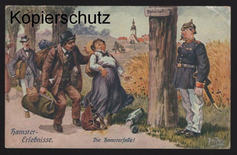 ALTE KÜNSTLER POSTKARTE ARTHUR THIELE DIE HAMSTERFALLE Ansichtskarte postcard cpa AK