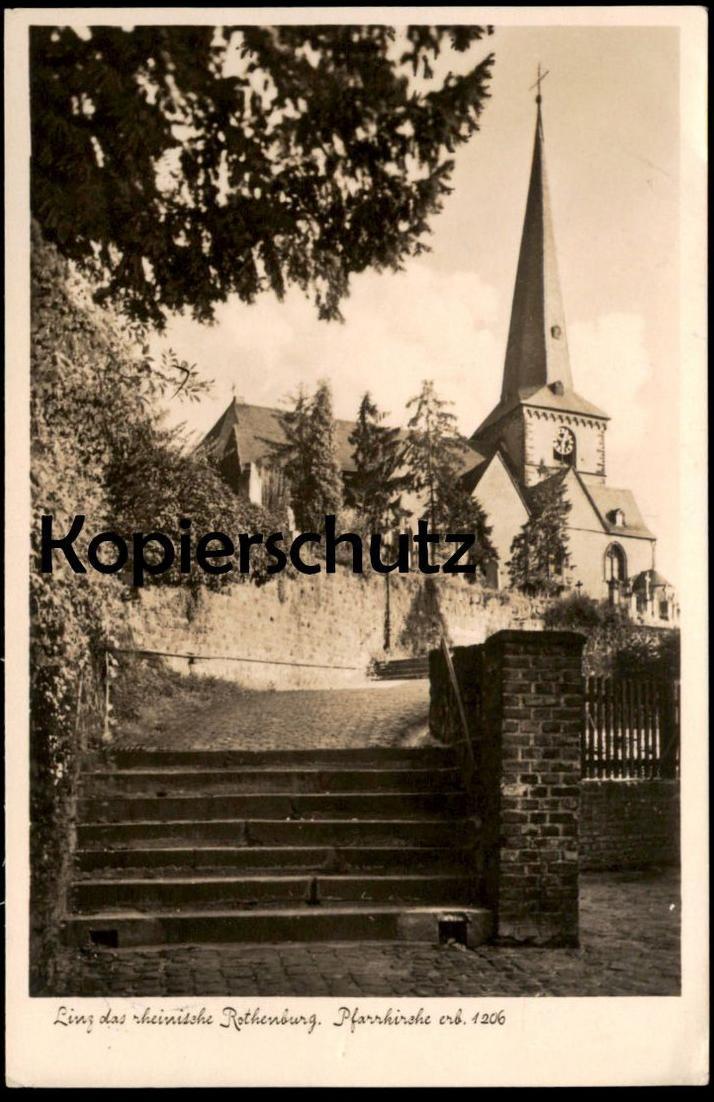 ALTE POSTKARTE LINZ DAS RHEINISCHE ROTHENBURG PFARRKIRCHE ERB. 1206 cpa Ansichtskarte postcard AK