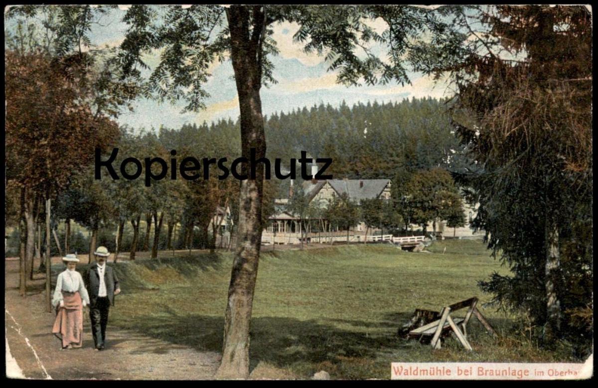 ALTE POSTKARTE WALDMÜHLE BEI BRAUNLAGE IM OBERHARZ Ehepaar couple AK Ansichtskarte cpa postcard