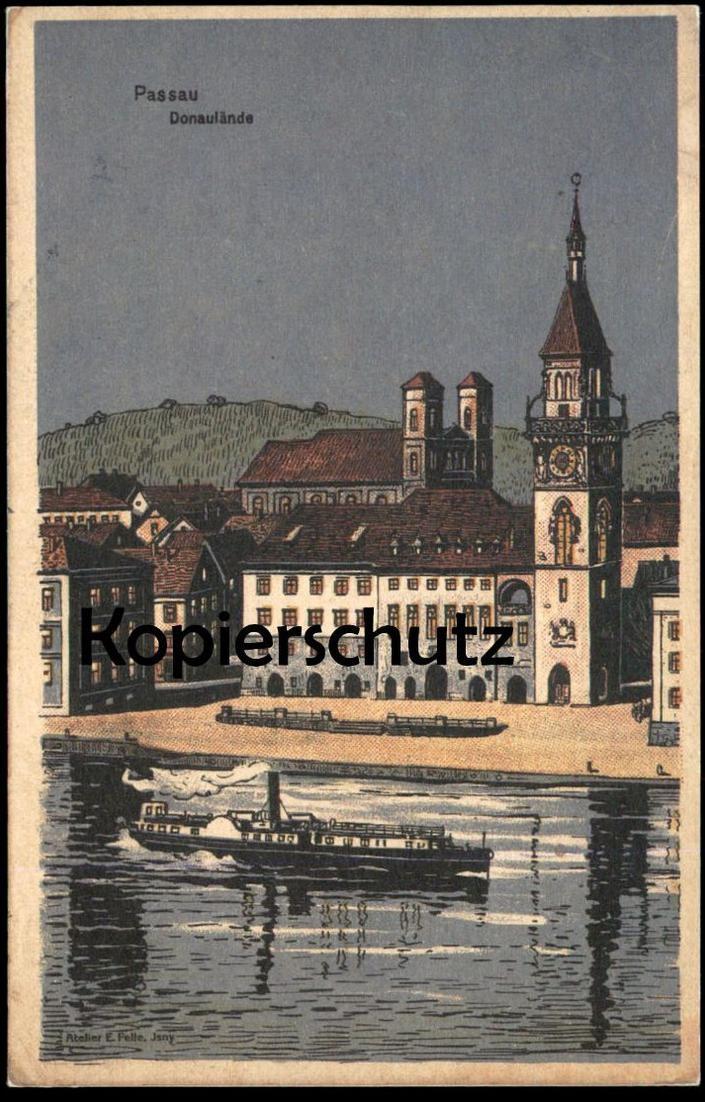 ALTE LITHO POSTKARTE EUGEN FELLE PASSAU DONAULÄNDE Luna Ansichtskarte cpa AK postcard