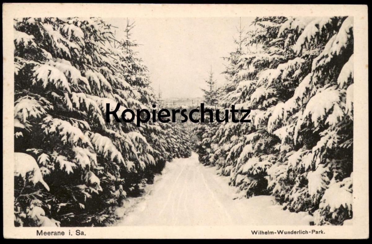 ALTE POSTKARTE MEERANE I. SA. WILHELM-WUNDERLICH-PARK Winter Schnee Ansichtskarte postcard cpa