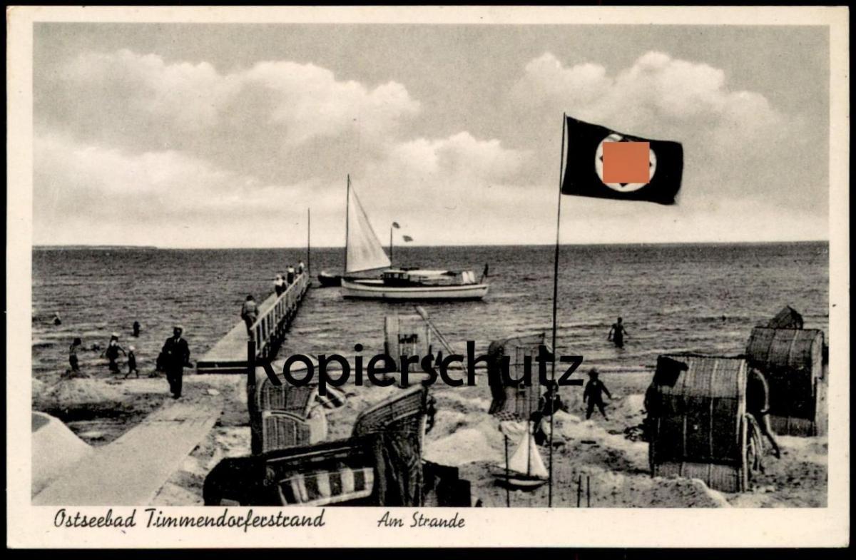 ALTE POSTKARTE OSTSEEBAD TIMMENDORFERSTRAND AM STRANDE Flagge Strand 40er Jahre beach plage flag Ansichtskarte postcard