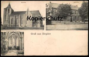 ALTE POSTKARTE GRUSS AUS BIRGDEN KIRCHE SCHULE INNERES DER KIRCHE Gangelt postcard Ansichtskarte cpa AK
