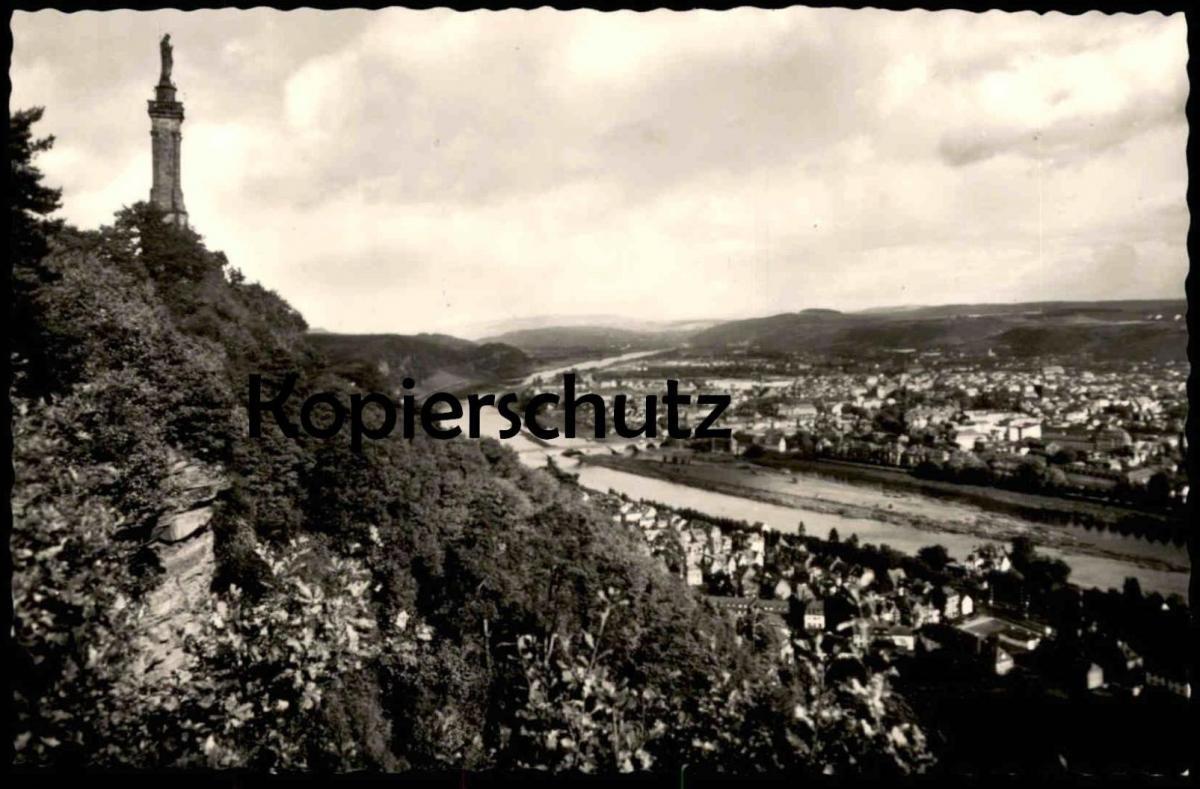 ÄLTERE POSTKARTE TRIER STADTBLICK MIT MARIENSÄULE UND MOSELLAUF Ansichtskarte postcard cpa AK