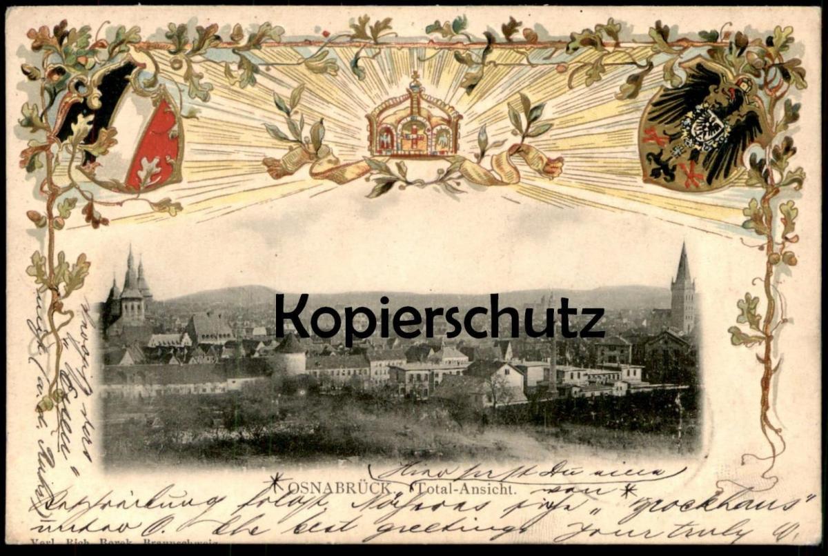 ALTE LITHO PRÄGE-POSTKARTE OSNABRÜCK TOTAL-ANSICHT Krone Wappen Total Gesamtansicht Ansichtskarte postcard cpa AK