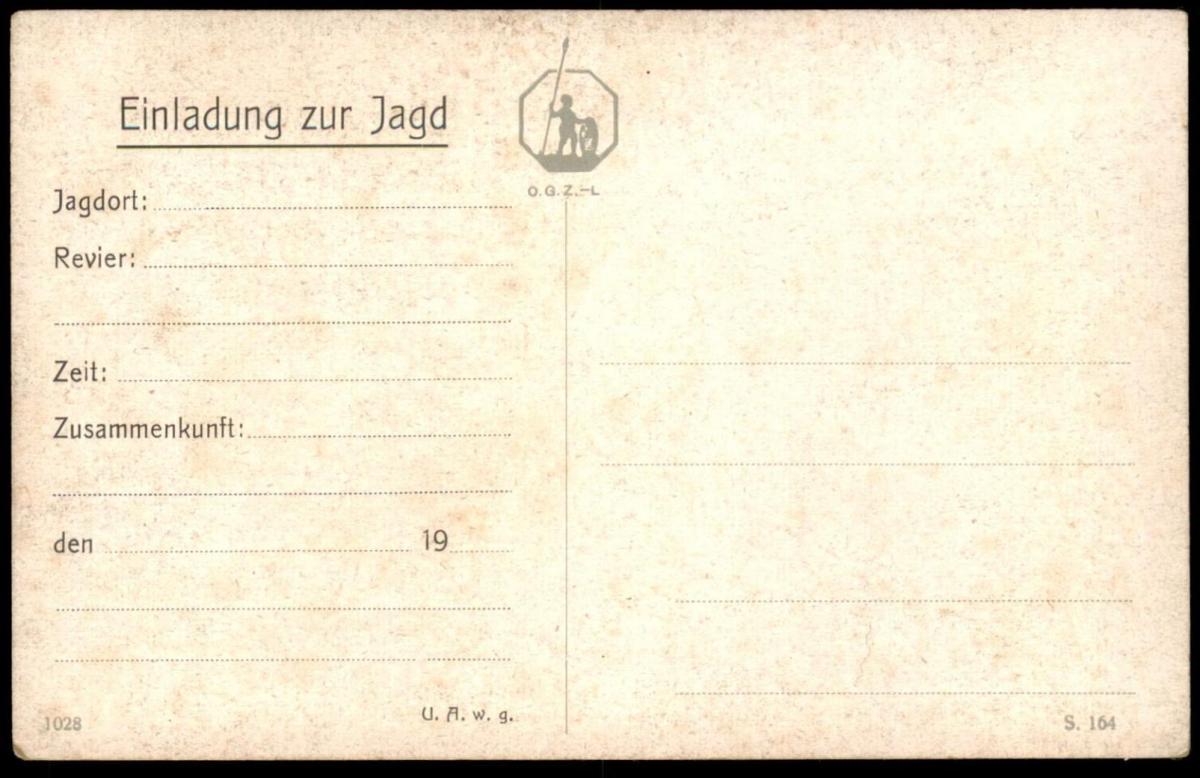 alte postkarte einladung zur jagd hunting chasse reh roe deer buck, Einladung