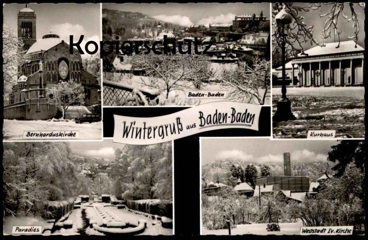 ÄLTERE POSTKARTE WINTERGRUSS AUS BADEN-BADEN Ansichtskarte AK cpa postcard