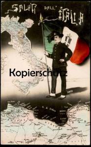 ALTE POSTKARTE SALUTI DALL' ITALIA Militaria Landkarte map Homs Sirtica Tripolis Ansichtskarte AK cpa postcard