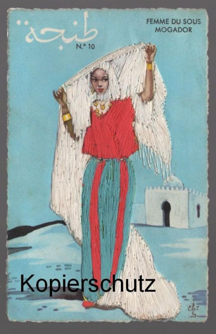 ALTE SEIDEN POSTKARTE FEMME DU SOUS MOGADOR Seide Seidenkarte Ansichtskarte AK cpa postcard