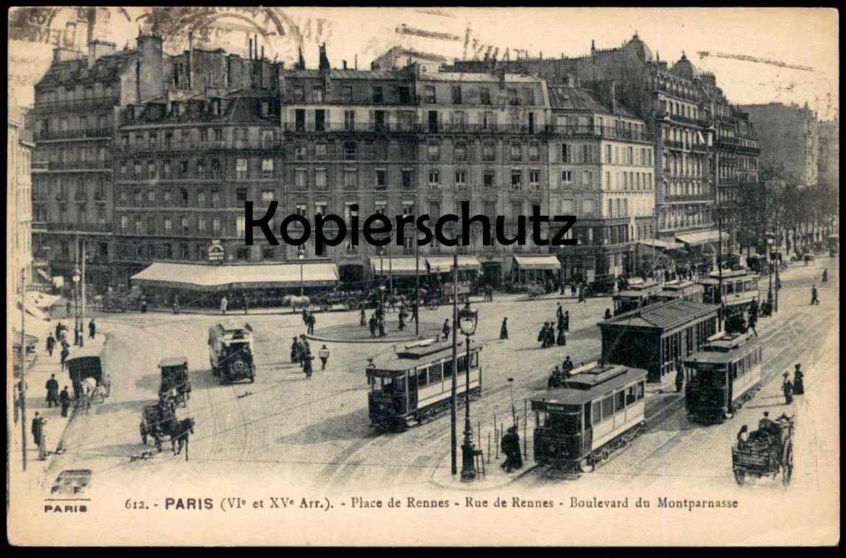 ALTE POSTKARTE PARIS PLACE DE RENNES RUE DE RENNES BOULEVARD DU MONTPARNASSE Ansichtskarte postcard cpa AK
