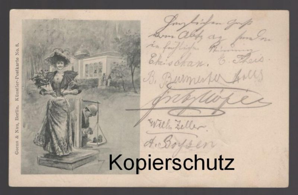ALTE POSTKARTE WAAGE FRAU woman femme Wiegen Gewicht weight Humor Ansichtskarten postcard cpa AK