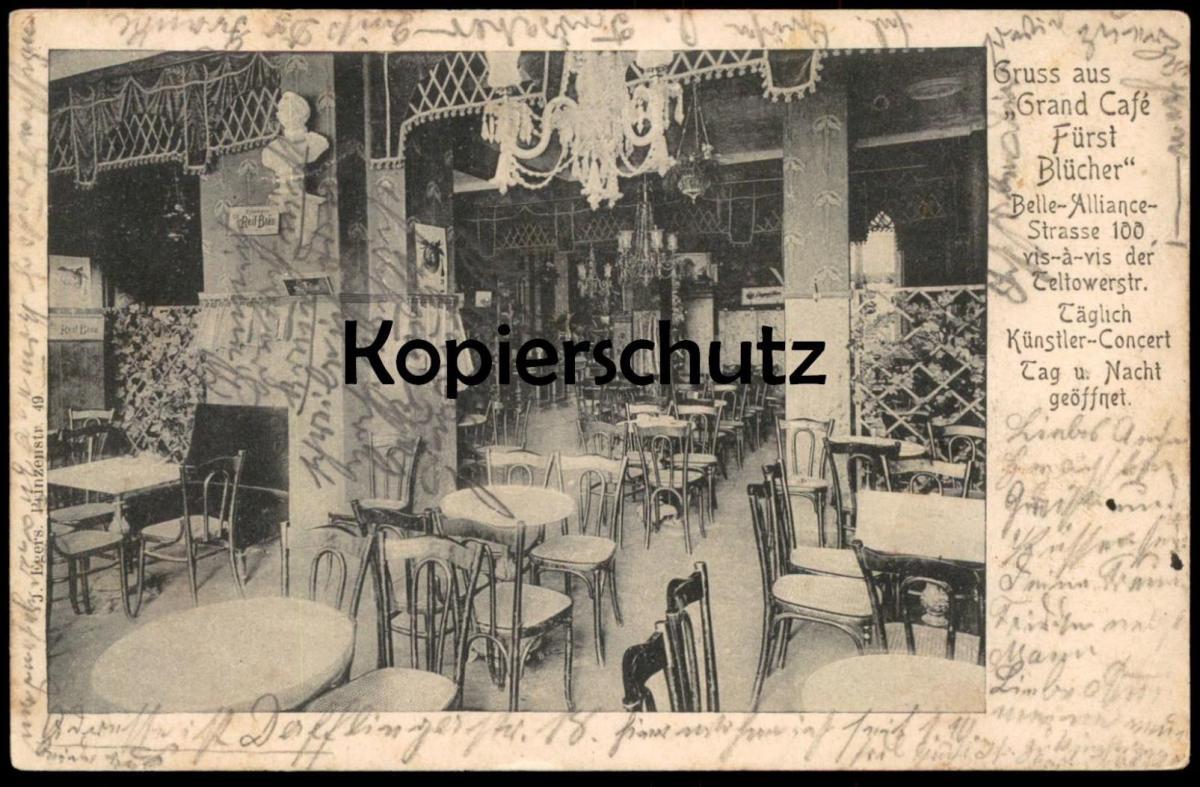 ALTE POSTKARTE GRUSS AUS GRAND CAFÉ FÜRST BLÜCHER Berlin Reif Bräu postcard Ansichtskarte AK cpa