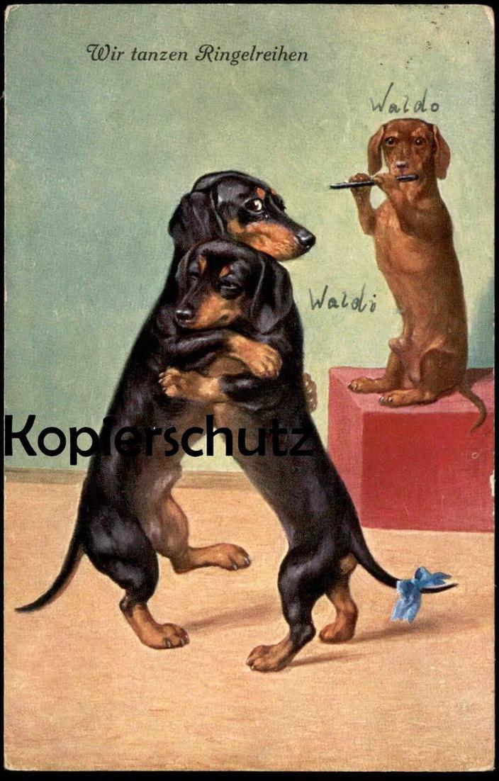 ALTE POSTKARTE WIR TANZEN RINGELREIHEN Dackel vermenschlicht Dachshund teckel dog chien postcard Ansichtskarte AK cpa