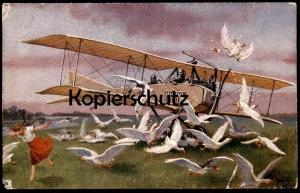 ALTE KÜNSTLER-POSTKARTE ARTHUR THIELE FLUGZEUG Airplane Luftfahrt avion Gans goose AK cpa postcard Ansichtskarte