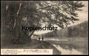 ALTE POSTKARTE SAARBRÜCKEN PARTIE AM DEUTSCH-MÜHLENWEIHER cpa postcard Ansichtskarte AK