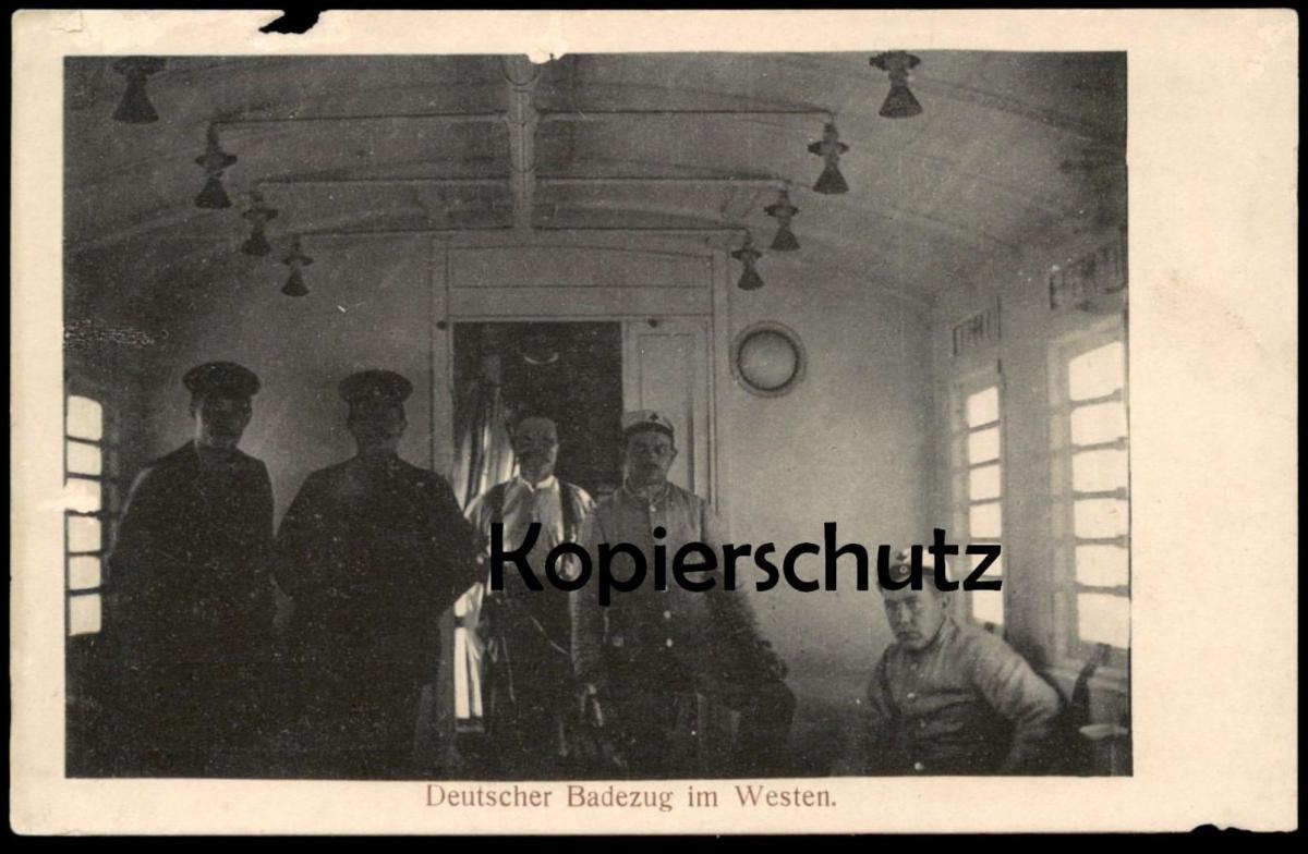 ALTE POSTKARTE DEUTSCHER BADEZUG IM WESTEN Zug train Waggon uniform 1914-1918 postcard Ansichtskarte cpa AK