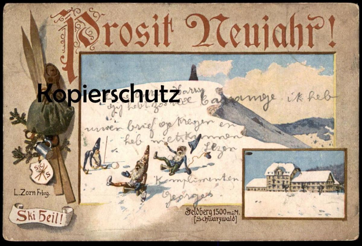 ALTE KÜNSTLER POSTKARTE PROSIT NEUJAHR FELDBERG LUDWIG ZORN Zwerge nains midget dwarfs postcard Ansichtskarte cpa AK