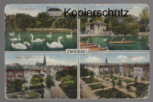 ALTE POSTKARTE ZWICKAU I. S. Schwanenschloss Gondelplatz Bismarckdenkmal Römerplatz postcard Ansichtskarte cpa AK