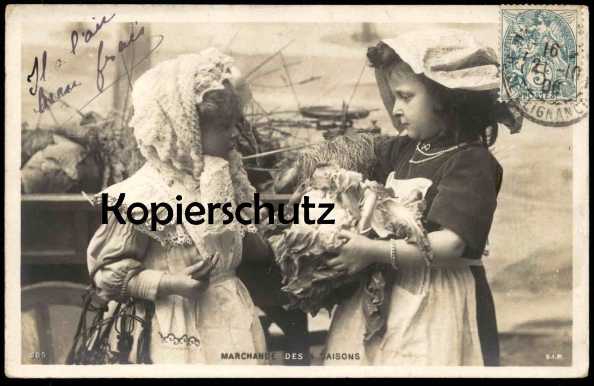 ALTE POSTKARTE MARCHANDE DES 4 SAISONS Kinder enfants girls children market marché Blumenkohl postcard Ansichtskarte AK