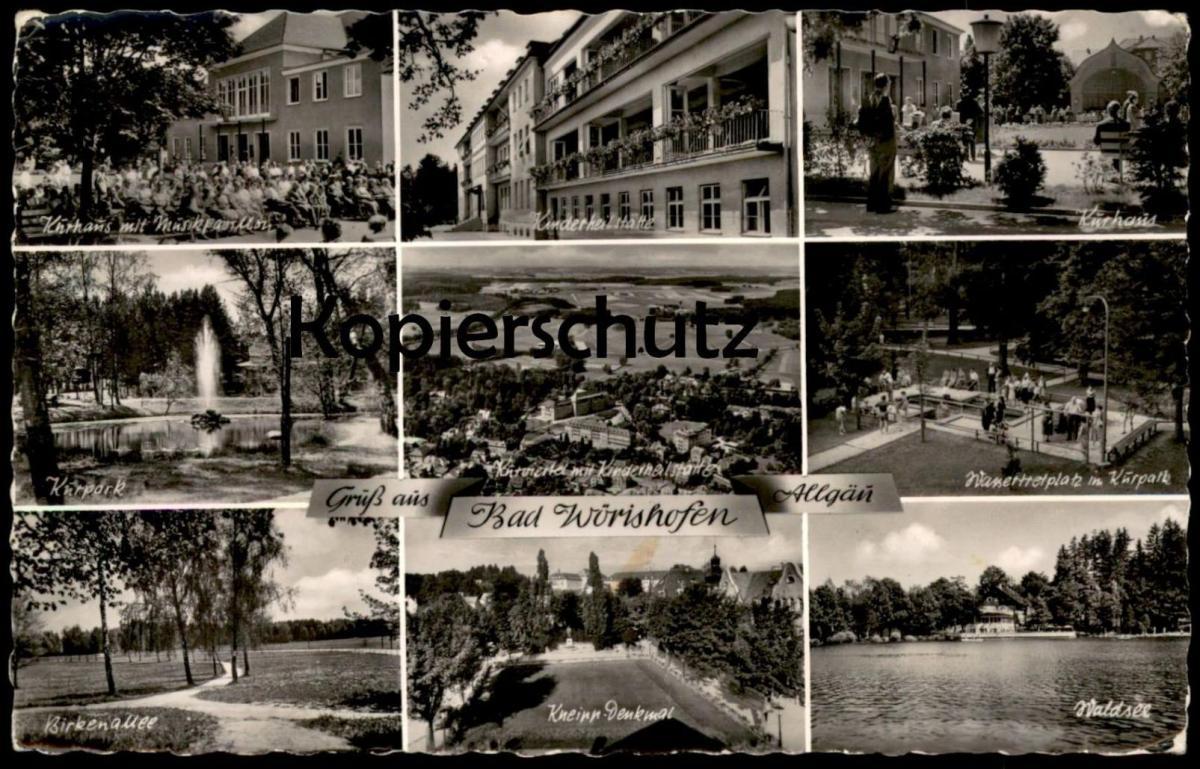 ÄLTERE POSTKARTE GRUSS AUS BAD WÖRISHOFEN ALLGÄU Kneipp Ansichtskarte cpa postcard AK