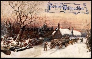 ALTE POSTKARTE FRÖHLICHE WEIHNACHTEN Raphael Tuck Oilette Winter's Mantle postcard Ansichtskarte cpa AK