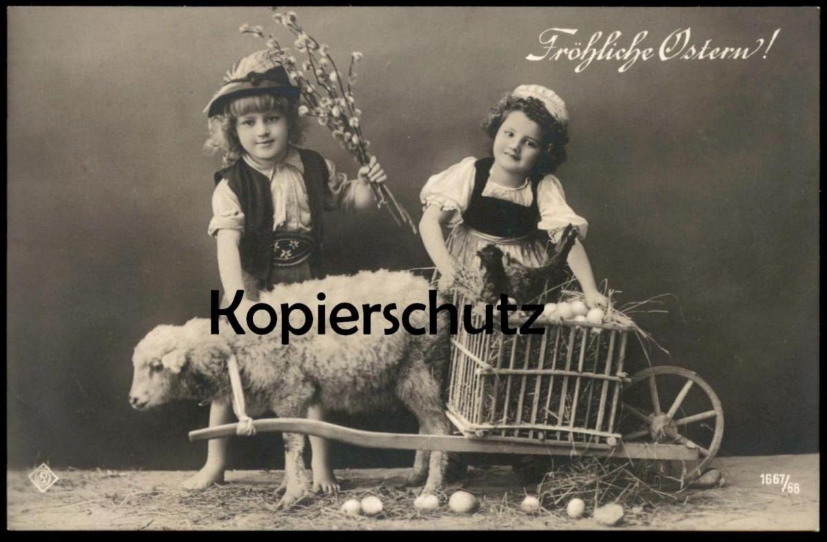 ALTE POSTKARTE FRÖHLICHE OSTERN Kinder Schaf Huhn sheep children Karren chicken postcard Ansichtskarte cpa AK