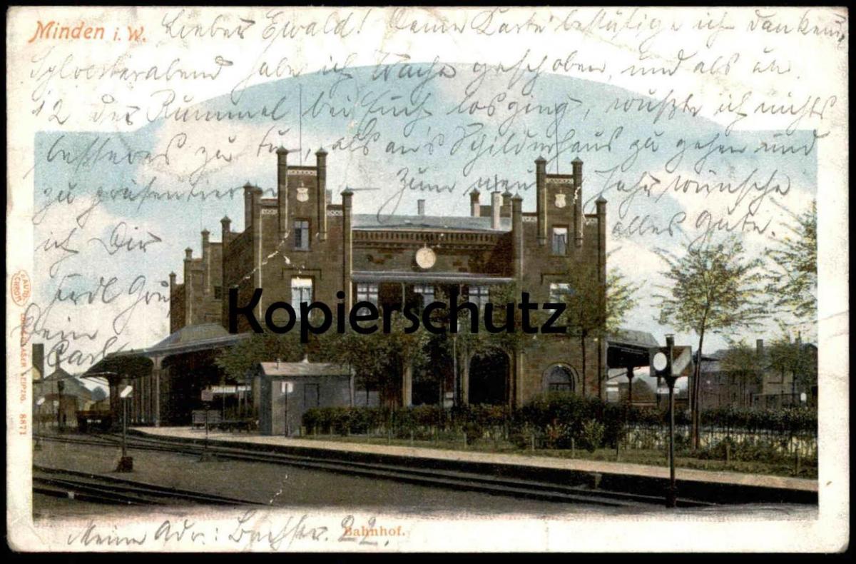 ALTE POSTKARTE MINDEN IN WESTFALEN BAHNHOF 1905 station gare Ansichtskarte postcard cpa AK