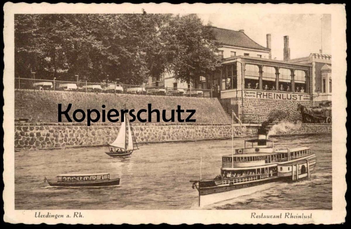 ALTE POSTKARTE UERDINGEN AM RHEIN RHEINLUST INH.ANDREAS BREMS GLASVERANDA KEGELBAHN BILLARD Dampfer ship Crefeld Krefeld