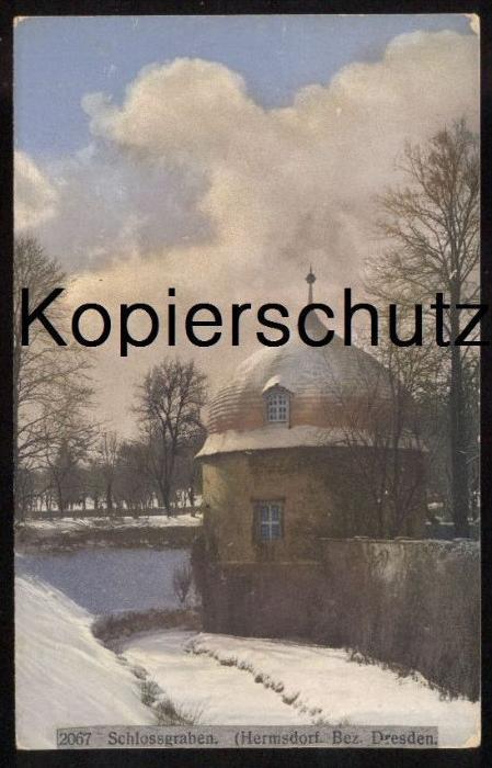 ALTE POSTKARTE HERMSDORF SCHLOSSGRABEN OTTENDORF - OKRILLA BEZIRK DRESDEN Sachsen Winter Schnee hiver snow cpa postcard