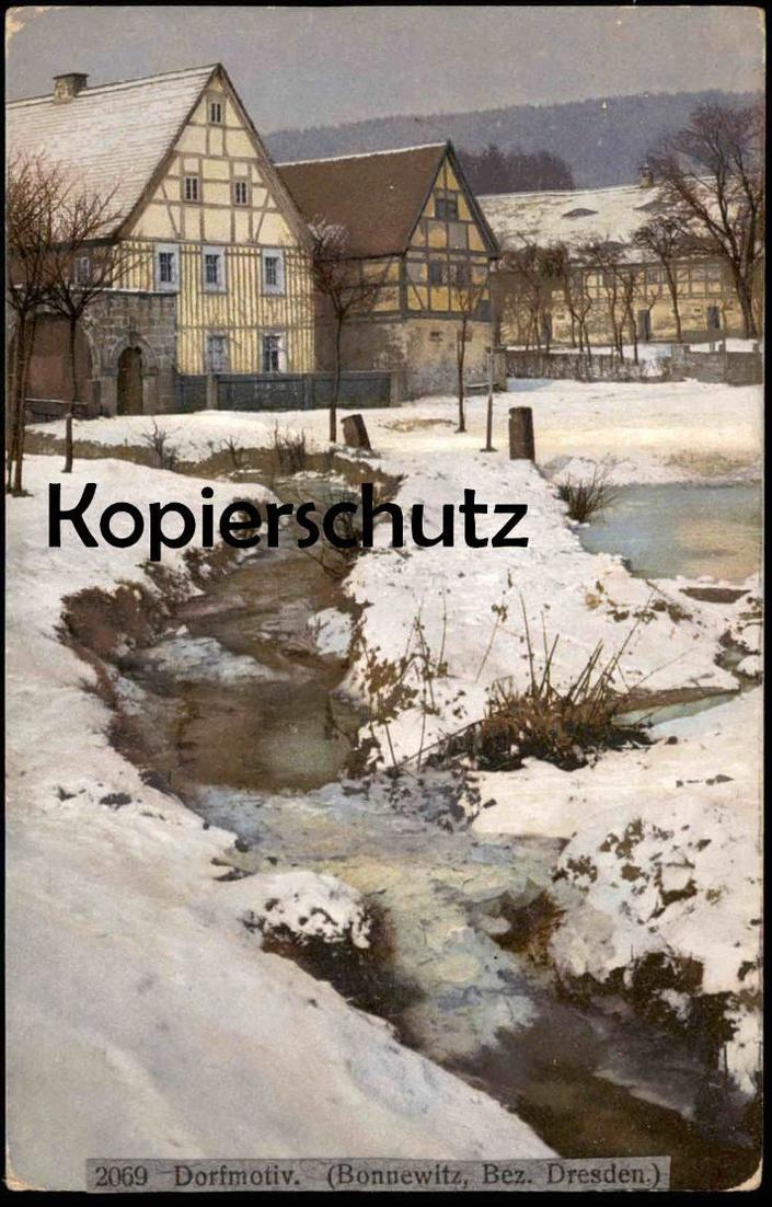 ALTE POSTKARTE BONNEWITZ DORFMOTIV BACH BEZIRK DRESDEN PIRNA GRAUPA Sachsen Bauernhaus Winter snow ruisseau runnel brook