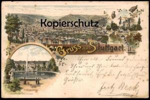 ALTE LITHO POSTKARTE GRUSS AUS STUTTGART GANZSACHE 1896 RESIDENZSCHLOSS EUGENSBRUNNEN cpa postcard Ansichtskarte AK