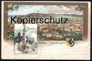 ALTE LITHO POSTKARTE GRUSS AUS STUTTGART EUGENSBRUNNEN WAPPEN 1908 Brunnen fontaine Fountain cpa postcard Ansichtskarte