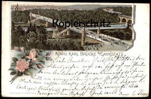 ALTE POSTKARTE STUTTGART KÖNIG KARL BRÜCKE BEI CANNSTATT 1895 BADEN-WÜRTTEMBERG Karlbrücke bridge pont Ansichtskarte
