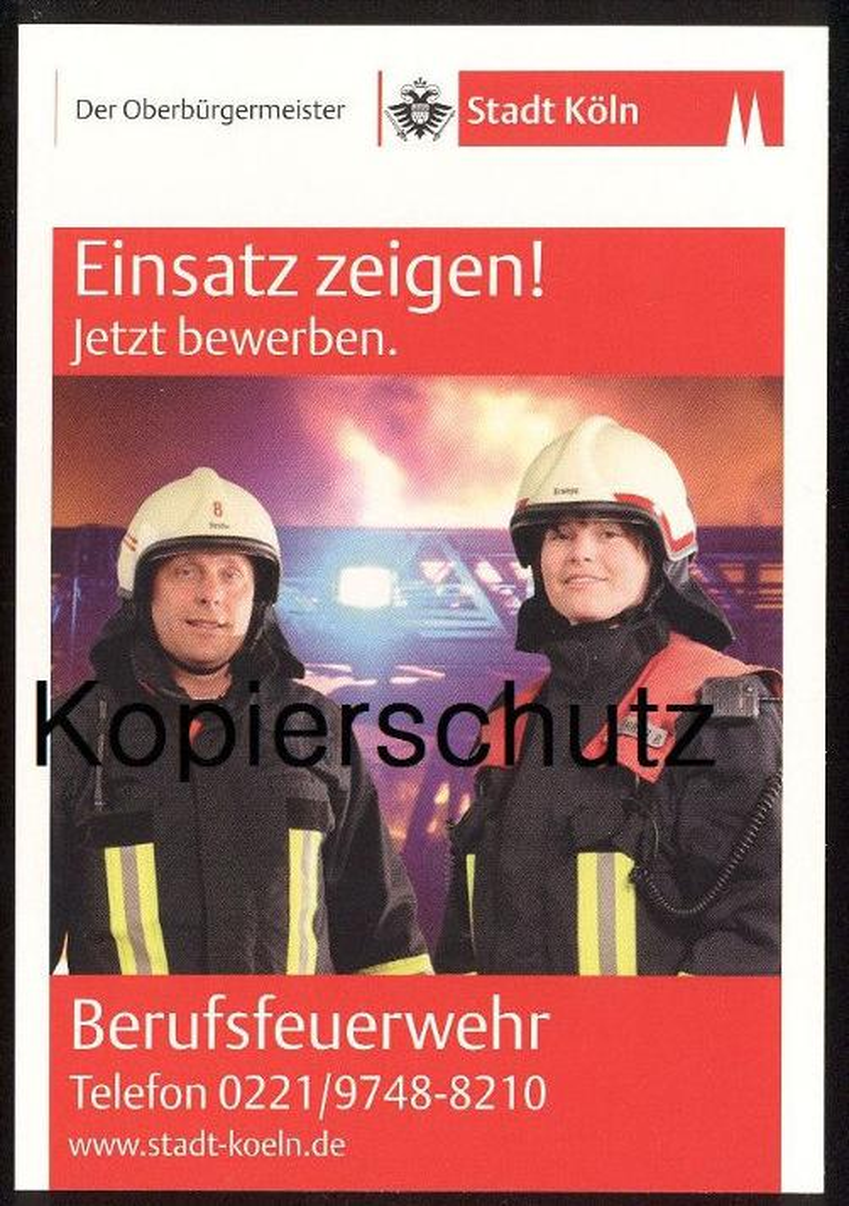 POSTKARTE BERUFSFEUERWEHR STADT KÖLN Feuerwehr corps de pompiers fire Uniform uniforme Ansichtskarte AK postcard cpa