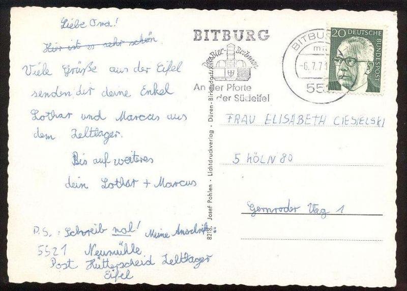 ÄLTERE POSTKARTE KOOSBÜSCH WISSMANNSDORF Wißmannsdorf Bitburger Land Stempel Bitburg Ansichtskarte cpa postcard AK 4