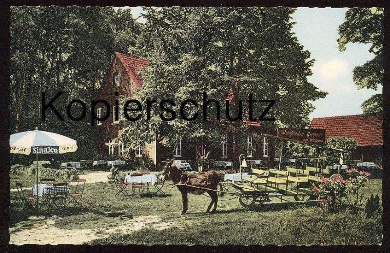 ÄLTERE POSTKARTE GASTHAUS WALDFRIEDEN AM WILDPARK DÜLMEN SINALCO TRINKT ESEL DONKEY KUTSCHE ane drawn carriage postcard