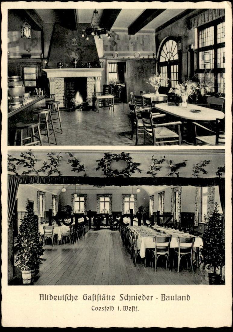 ALTE POSTKARTE ALTDEUTSCHE GASTSTÄTTE SCHNEIDER - BAULAND COESFELD Saal Kamin Ansichtskarte AK cpa postcard